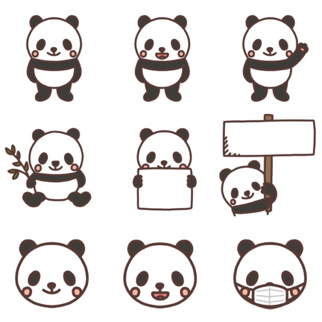 パンダのイラストまとめ 11種類