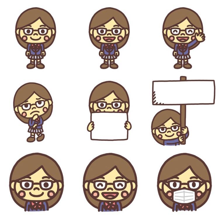 いろいろなパターンの女子学生のイラスト