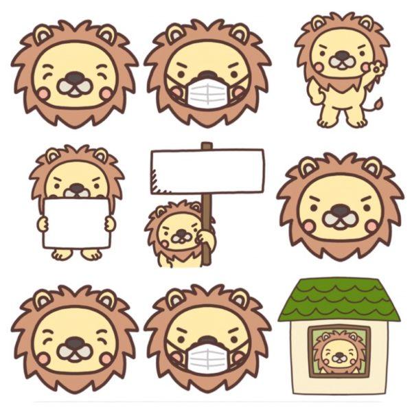 いろいろな種類のライオンのイラスト