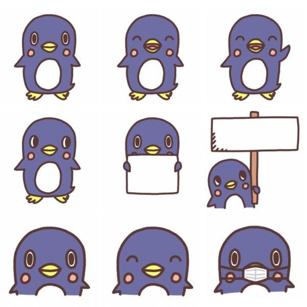 いろいろな種類のペンギンのイラスト