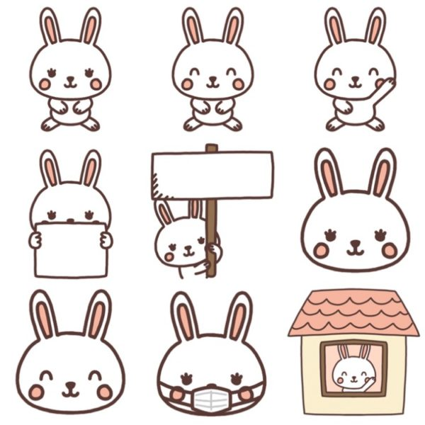 いろいろな種類のウサギのイラスト