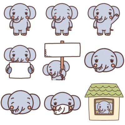 いろいろな種類のゾウのイラスト