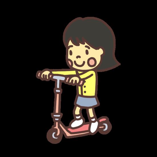 キックボードで遊ぶ子どものイラスト目が点バージョン