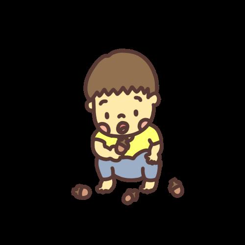 ドングリを見つめる幼児のイラスト