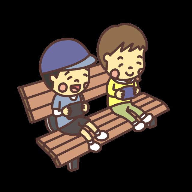 公園のベンチでゲームをする子どものイラスト。スマイルバージョン。