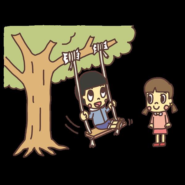 木に吊るしたブランコで遊ぶ子どものイラスト