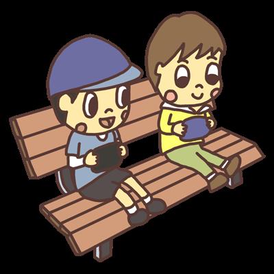 公園のベンチでゲームをする子どものイラスト