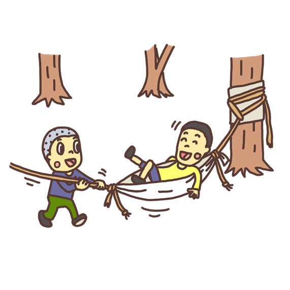 ハンモックで遊ぶ子どものイラスト