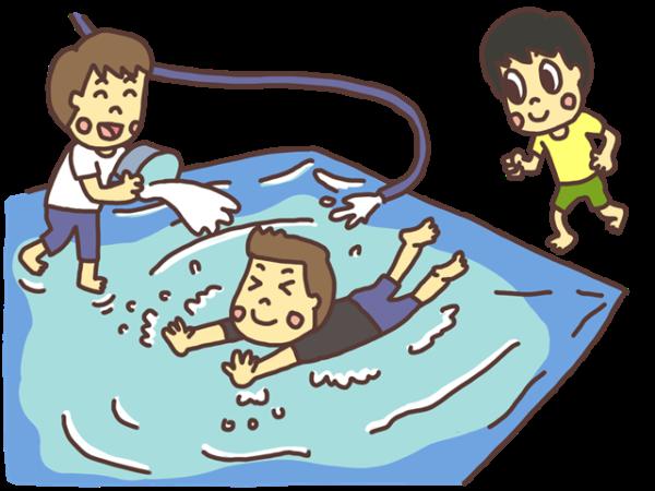 水の上をスライディングして滑って遊ぶ子どものイラスト