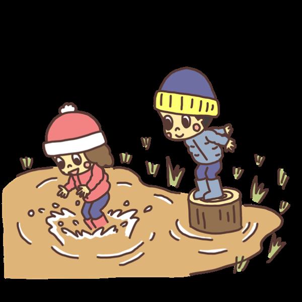 水たまりに飛び込む子どものイラスト