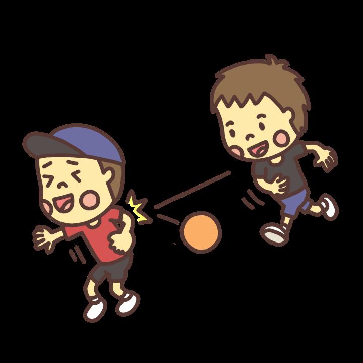 ドッヂボールをして遊ぶ子どものイラスト