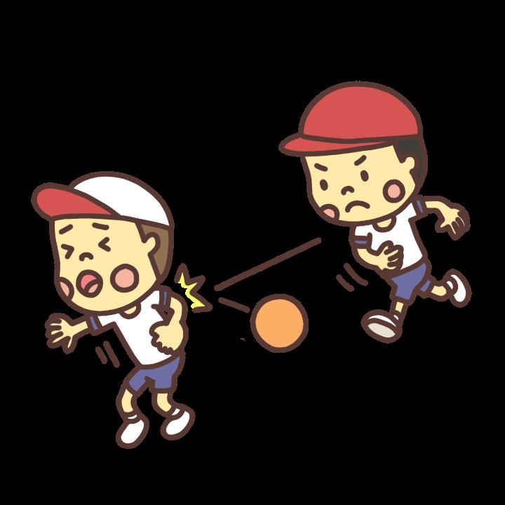体育の時間にドッヂボールをする子どものイラスト