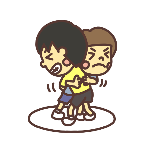 相撲(すもう)をして遊ぶ子どものイラスト