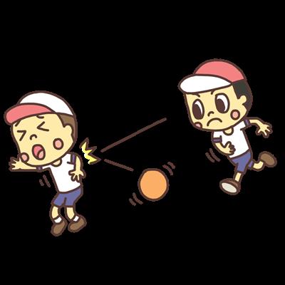ドッジボールで遊ぶ子どものイラスト