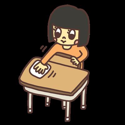 机を拭き掃除する子どものイラスト