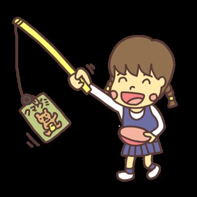 お菓子釣りを遊ぶ女の子のイラスト