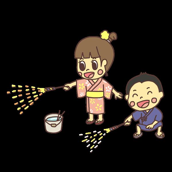 手持ち花火で遊ぶ子どものイラスト