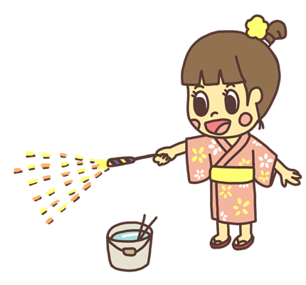 手持ち花火で遊ぶ女の子のイラスト