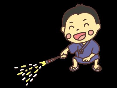 手持ち花火で遊ぶ男の子のイラスト