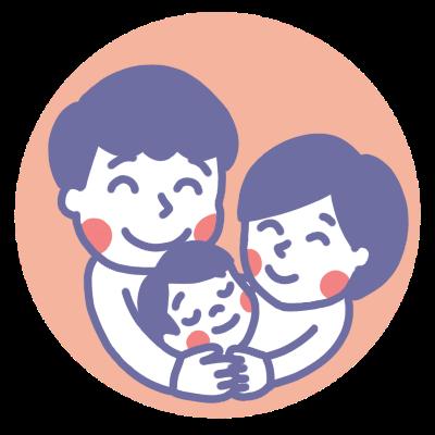 子どもを抱きしめる夫婦のイラスト後ろピンク