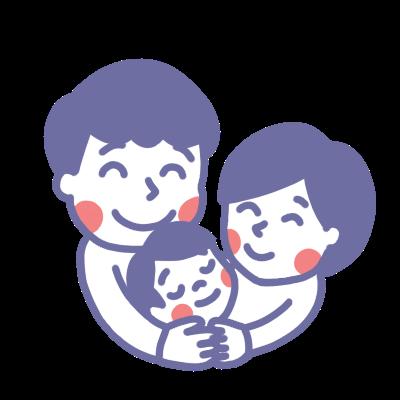子どもを抱きしめる夫婦のイラスト