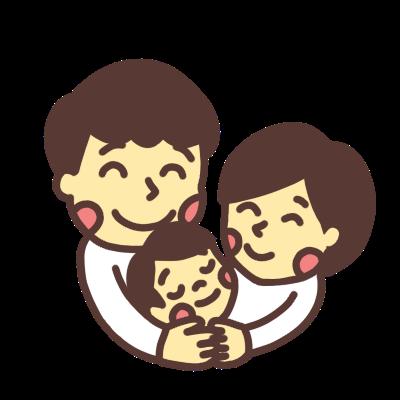子どもを抱きしめる夫婦のイラストカラー