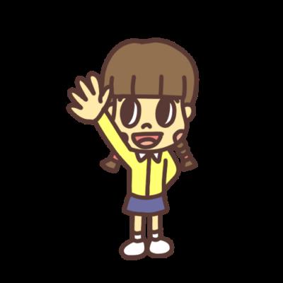 手を上げる子どものイラスト