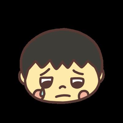 悲しい顔で涙ぐむ男の子のアイコン