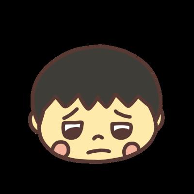 悲しい顔でうつむく男の子のアイコン