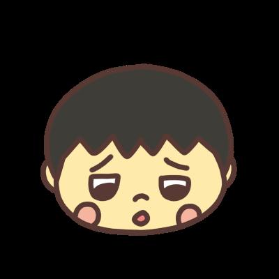 悲しい顔でつぶやく男の子のアイコン