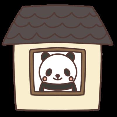 家の中にいるパンダのイラスト