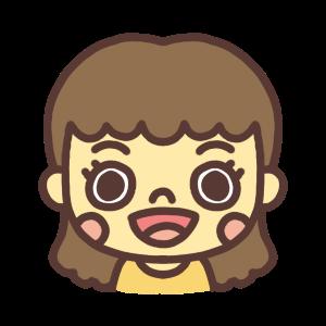口を開けている女性のアイコンイラスト