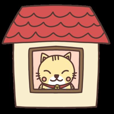 ステイホーム中のネコのイラスト