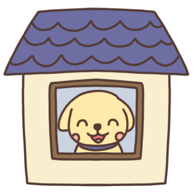 家の中にいる犬のイラスト