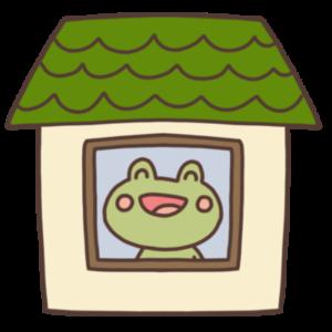 ステイホーム中のカエルのイラスト