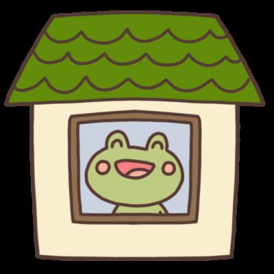 家の中にいるカエルのイラスト