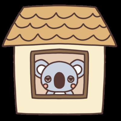 家の中にいるコアラのイラスト