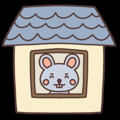 ステイホーム中のネズミのイラスト