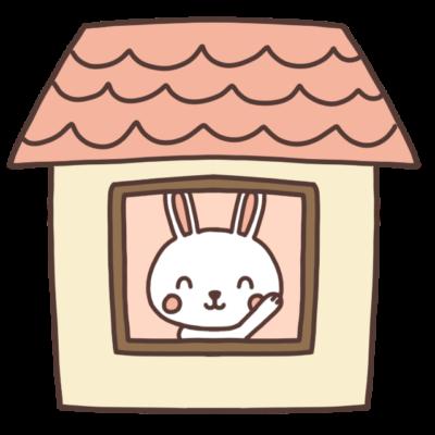 家の中にいるうさぎのイラスト