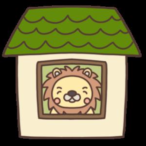 ステイホーム中のライオンのイラスト