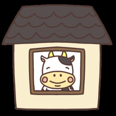 家の中にいる牛のイラスト