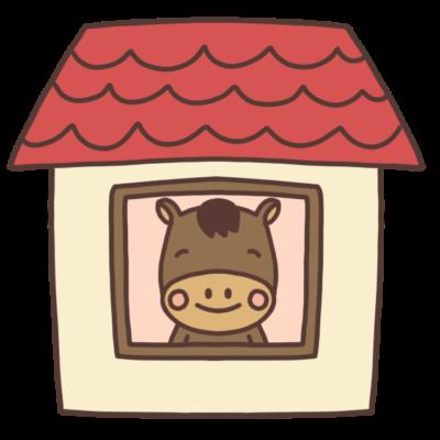 家の中にいる馬のイラスト