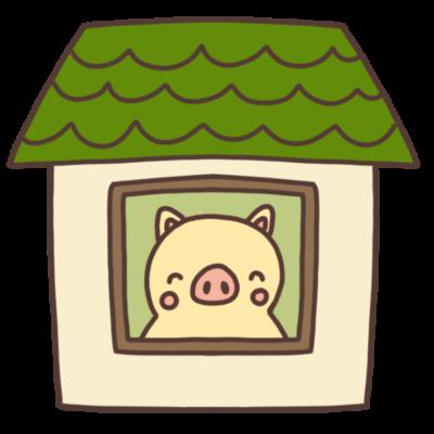 家の中にいる豚のイラスト