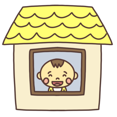 ステイホーム中の赤ちゃんのイラスト