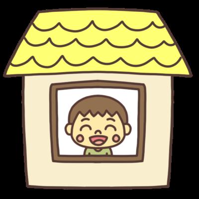 ステイホーム中の男の子のイラスト