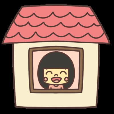 ステイホーム中の女の子イラスト