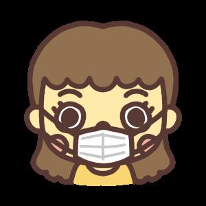 マスク姿の女性のアイコンイラスト