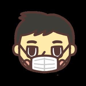 マスクをする男性のアイコンイラスト