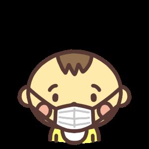マスク姿の男の子の赤ちゃんのアイコンイラスト
