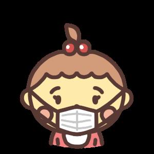 マスク姿の女の子の赤ちゃんのアイコンイラスト